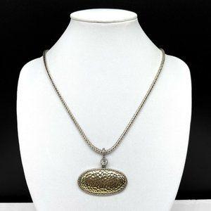 Premier Designs Silver Gold Tone Chain Clear Rhinestone Pendant Necklace